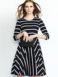Women's Vintage Striped Round Neck Knee-length A Line Dress