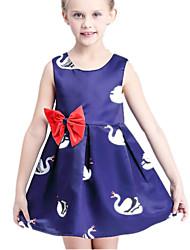 Girl's Blue Dress Cotton / Polyester Summer
