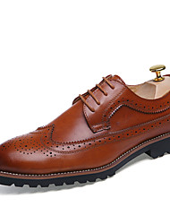 Men's Shoes Leather Wedding / Office & Career / Casual Oxfords Wedding / Office & Career / Casual Lace-up Black / Brown / Red