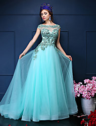 Mermaid / Trumpet Jewel Neck Court Train Tulle Evening Dress with Beading