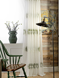 Embroidered Leaf Floral  Three Color Sheer Curtain (Two Panel)