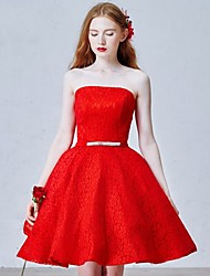 Short / Mini Lace Bridesmaid Dress - Ball Gown Strapless with Sash / Ribbon