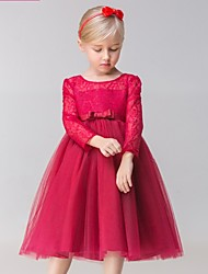 A-line Tea-length Flower Girl Dress - Lace / Tulle Long Sleeve Jewel with