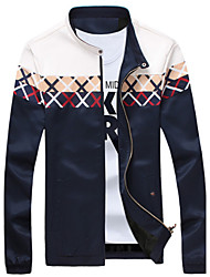 Men's Fashion Stand Collar Plaid Stitching Casual Slim Fit Long Sleeve Jacket