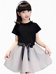 Girl's Black Dress,Ruffle Cotton Summer