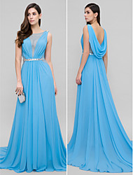 TS Couture Formal Evening Dress - Open Back A-line Scoop Court Train Chiffon with Beading