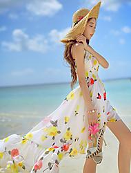 Women's Boho Floral Swing Dress,Strap Asymmetrical Polyester / Spandex