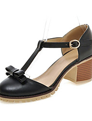 Women's Shoes Leatherette Chunky Heel Heels Heels Wedding / Party & Evening / Dress / Casual Black / Pink / White
