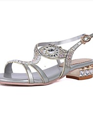 Women's Shoes Leather Low Heel Peep Toe Sandals Party & Evening / Dress / Casual Purple / Silver / Gold