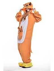 kigurumi Pyjamas New Cosplay® Kangourou Collant/Combinaison Fête / Célébration Pyjamas Animale Halloween Orange Mosaïque Polaire Kigurumi