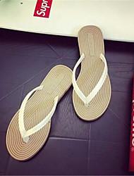 Women's Shoes Synthetic Flat Heel Flip Flops Flip-Flops Outdoor / Casual Black / Pink / White / Leopard