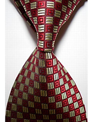 New Checked Yellow Red JACQUARD WOVEN Men's Tie Necktie #3022