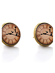Lureme® Vintage Jewelry Time Gem Series Antique Bronze Clock with Dancer Disc Stud Earrings for Women and Girls
