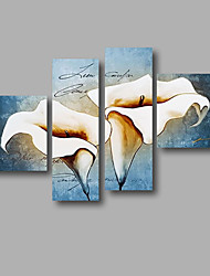 "Stretched (ready to hang) Hand-painted Oil Painting 60""x44"" Canvas Wall Art Modern Flowers Blue White Lily"