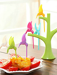 6PCS Hummingbird Fruit Fork Random Color