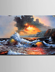Mini Size E-HOME Oil painting Modern Sea Wave Pure Hand Draw Frameless Decorative Painting