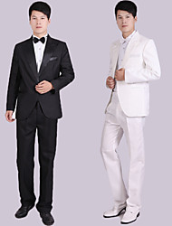 Costumes Coupe Sur-Mesure Cranté Droit 1 bouton Polyester Couleur Pleine 4 Pièces Noir / Blanc