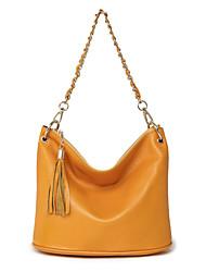 Women Cowhide Barrel Shoulder Bag / Tote / Mobile Phone Bag / Travel Bag-White / Pink