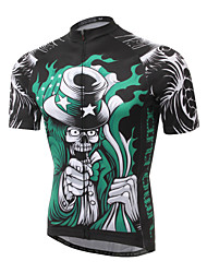 XINTOWN Bike Green Skull Riding Men Cycling Jersey Bicycle Short Sleeve Wear