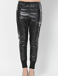 Women Lambskin Pants , Belt Not Included