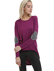 Women's Round Neck T-shirt , Cotton Long Sleeve
