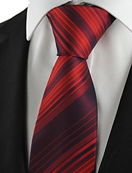 New Striped Burgundy Red Mens Tie Suit Necktie Party Wedding Holiday Gift KT1003