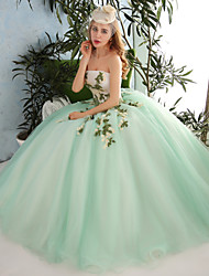 Ball Gown Strapless Floor Length Organza Tulle Formal Evening Dress with Beading Appliques Flower(s) Lace Sequins by QZ