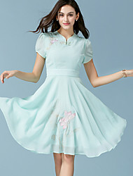 Women's Simple Floral Skater Dress,Round Neck Knee-length Polyester
