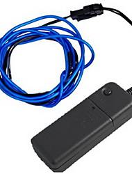 flexível de néon azul el fio luz do partido carro corda 7,5 pés
