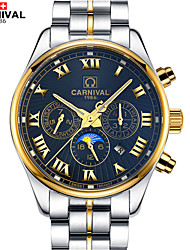 Carnival® Watches Multifunctional Automatic Mechanical Watch Moon Luminous Stainless Steel Watch Business Cool Watch Unique Watch