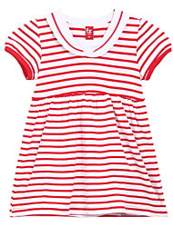 Girl's Black / Red Dress,Stripes Cotton Spring