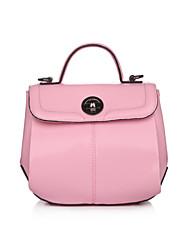 Women Cowhide Baguette Shoulder Bag-Pink