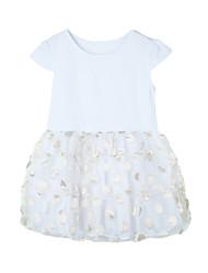 New Kids Baby Girl Short Sleeve Tutu Dress O Neck Elastic Waist Cute Party Slim Mini Dress