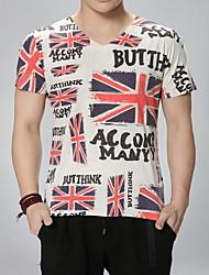 Print / Letter -Informeel / Werk / Formeel / Sport / Grote maten-Heren-Katoen-T-shirt-Korte mouw Beige