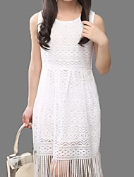 Girl's White Dress,Lace Cotton Summer