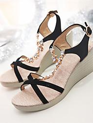 Women's Shoes Wedge Heel Wedges / Open Toe Sandals Dress Black / Green / Beige