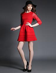 Women's Sexy / Cute Solid Sheath / Little Black Dress,Round Neck Mini Cotton / Spandex