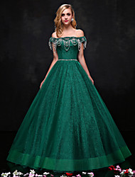 A-Line Strapless Floor Length Lace Formal Evening Dress with Beading Crystal Detailing Lace