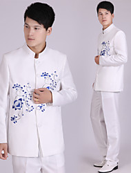 Suits Tailored Fit Mandarin Collar Single Breasted More-Button Polyester Patterns 2 Pieces White