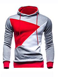 Famous Brand Design Men's Casual/Daily Simple Regular HoodiesColor Block Gray Hooded Long Sleeve Polyester Fall / Winter Thick Micro-elastic