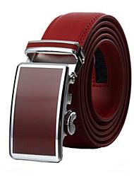 Men's Fashion Genuine Leather Ratchet Belt Business Red Belts