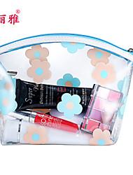 Aufbewahrung für Make-Up Kosmetik Tasche / Aufbewahrung für Make-Up PU Blume Ellipse 20*10*12CM Schwarz / Rot