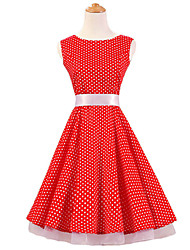 50s Era Vintage Style Sleeveless Rockabilly Dress Cosplay Costume Red White Mini Polka Dot (with Petticoat)
