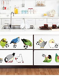 Playing Football Birds Cartoon Wall Stickers For Kids Room Decorative Adesivo De Parede Children'S Favourite Wall Decals