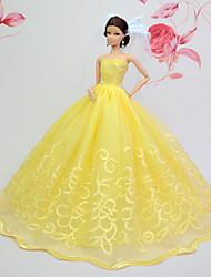 Poupée Barbie-Jaune-Soirée & Cérémonie-Robes- enOrganza / Dentelle