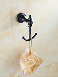 Black Bathroom Accessories Brass Material Robe Hook