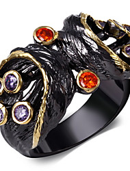 Women Cute Rings Amethyst &Orange Cubic Zirconia Bezel Setting 18K Gold & Black Plated Ring