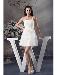 Cocktail Party Dress-Ivory A-line Spaghetti Straps Short/Mini Tulle