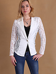 Hot Sale Women's Solid White / Black Blazer , Vintage / Street chic Stand Long Sleeve Coat