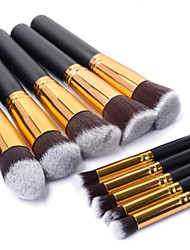10PCS Professional Makeup Brushes Set Black Wood Handle Powder Blush Eyeshadow Brush Gold Tube Brush